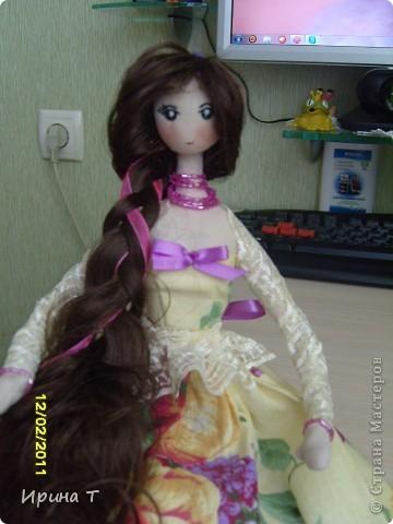 Наконец дошилась кукла в подарок замечательной девушке!Первый раз делала каркас из проволоки-замучилась его вставлять! фото 1