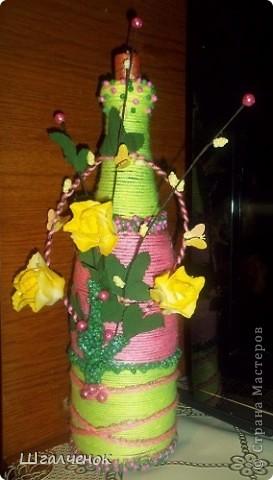 Цветочная композиция на бутылочке. фото 1