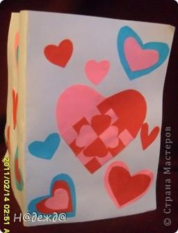 Сегодня День святого валенита! ПОЗДРАВЛЯЕМ!!! ЛЮБВИ!!Так как вчера закончили все приготовления сегодня выставляем свои творения. Делала Вероника, ну и я ей помогала.  Вот такую открытку Вероника сматерила для любимой учительницы. Титульная сторона. фото 1