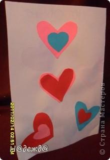 Сегодня День святого валенита! ПОЗДРАВЛЯЕМ!!! ЛЮБВИ!!Так как вчера закончили все приготовления сегодня выставляем свои творения. Делала Вероника, ну и я ей помогала.  Вот такую открытку Вероника сматерила для любимой учительницы. Титульная сторона. фото 2