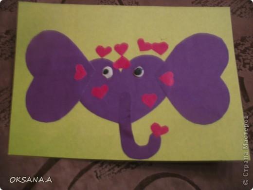 Эти аппликации сделала моя старшая дочка Валерия. Этот слоник из сердечек - подарок на день Валентина.   фото 1