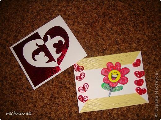 Мои первые открытки-валентинки В работе использованы: 1) гофрированный и фольгированный картон 2) блестки 3) сердечки из квилинга