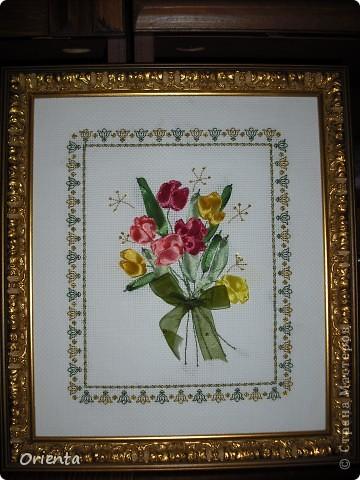 Тюльпаны, вышитые лентами
