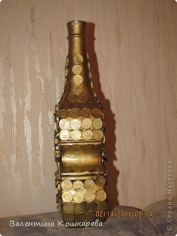 Бутылка с цветами из перьев фото 3