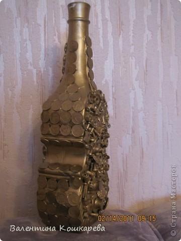 Бутылка с цветами из перьев фото 4