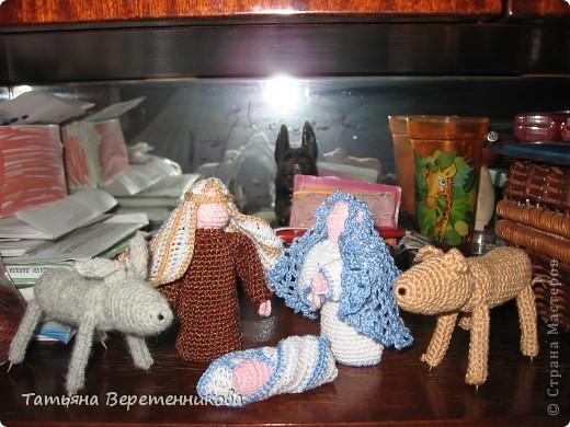 Эти фигурки вязала для доченьки на рождественскую выставку, тут они пока без оформления, а задуман был вертеп и в нем святое семейство. фото 1
