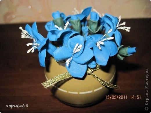 Вторая попытка создать цветы из пластики. Вазочка - кольцо для салфеток. Внутрь вставила обрезанную пластиковую бутылочку, заполненную пенопластом. фото 1