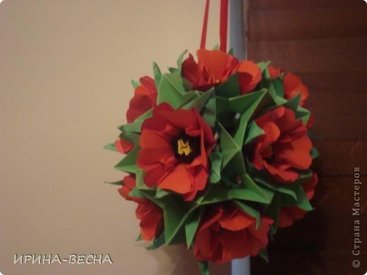 Вот такая кусудама с  цветами получилась у меня , очень актуально  будет смотреться в день Пасхи. фото 4