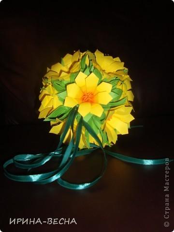 Вот такая кусудама с  цветами получилась у меня , очень актуально  будет смотреться в день Пасхи. фото 2
