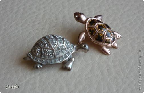 Продолжаю показывать своих черепашек. Начало можно посмотреть здесь http://stranamasterov.ru/node/151515. Фигурки куплены нами или подарены друзьями и родными, поэтому попадаются вроде бы одинаковые, но разного оформления. Рассказы о черепахах, как о живых или мифических существах или о символах предлагаю почитать у Олиандры.   Решила начать с микрораздела.  Это броши.  фото 3