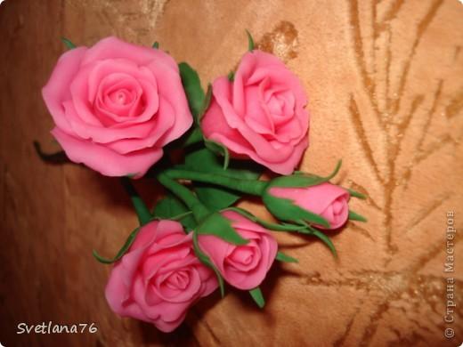Роза из самоварного холодного фарфора, для цвета добавила розовую + белую гуашь фото 2