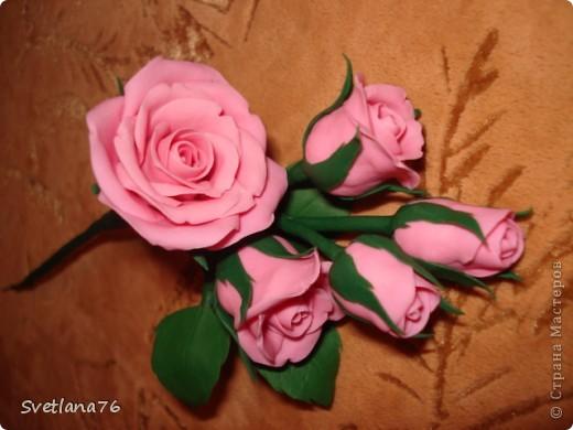 Роза из самоварного холодного фарфора, для цвета добавила розовую + белую гуашь фото 1