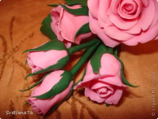 Роза из самоварного холодного фарфора, для цвета добавила розовую + белую гуашь фото 3