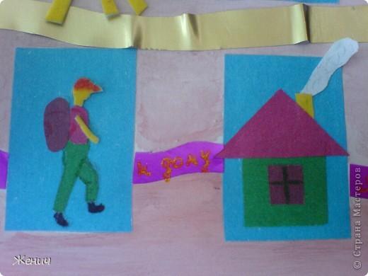 А вот вторая открытка.  Основа - лист для черчения, пограшенный гуашью, Ленточки - из металлизированной самоклеющейся бумаги. фото 3