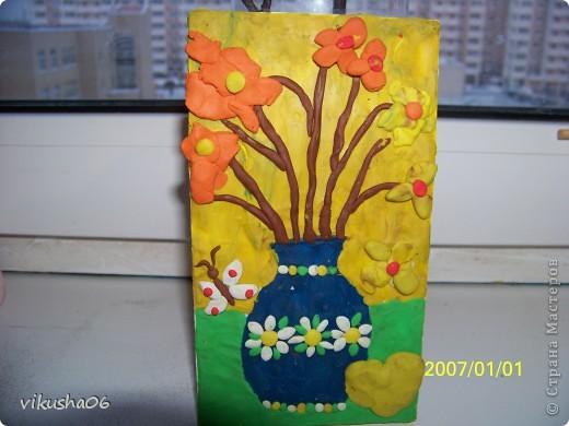 """Картина на плитке """"Лето на столе"""" Начала делать картину с вербой,сынуля подключился и всё переиграл. Решил налепить цветы."""