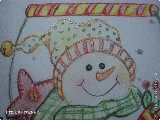 Открытка сделанная в подарок под Новый год. фото 3