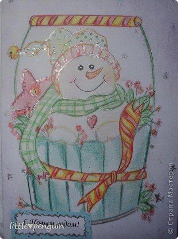 Открытка сделанная в подарок под Новый год. фото 1