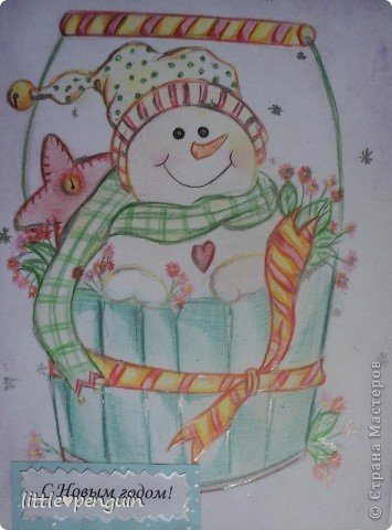Открытка сделанная в подарок под Новый год. фото 2