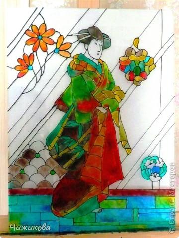 Первый витраж. Стекло, витражные краски, формат 30*40 фото 3
