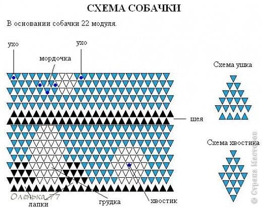 Оригами из модулей схемы собачка