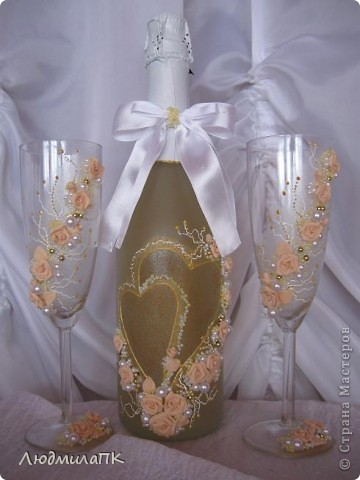 Очередной набор с сердечками. Теперь уже с персиковыми розами, с золотом. фото 2