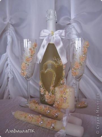 Очередной набор с сердечками. Теперь уже с персиковыми розами, с золотом. фото 1