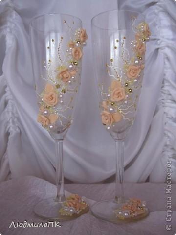 Очередной набор с сердечками. Теперь уже с персиковыми розами, с золотом. фото 5