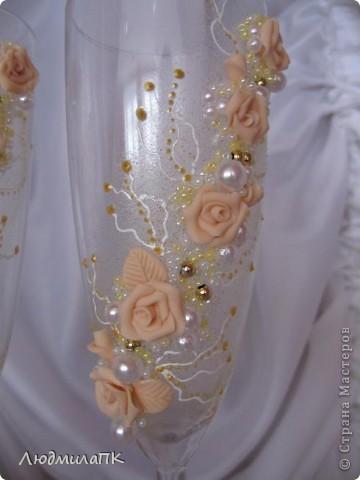 Очередной набор с сердечками. Теперь уже с персиковыми розами, с золотом. фото 6