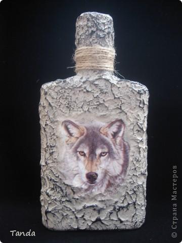 Волк бумага бутылки стеклянные дерево