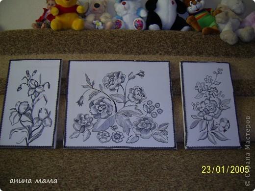 """триптих""""ЦВЕТЫ"""".Выполнен по моему эскизу. В качестве рамки использованы кружева. фото 1"""