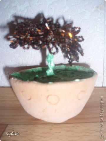 вот такой я сплела цветочек, без всяких схем и вот , что получилось:))))))))горшочек из глины, привезли как сувенир из палеодеревни, решила его использовать вот так:)))) фото 2