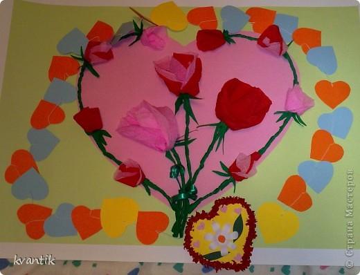 Коллективная работа Кусудама Раннее развитие Валентинов день Оригами Торцевание Наши поделки на Валентинов день Клей Нитки фото 3