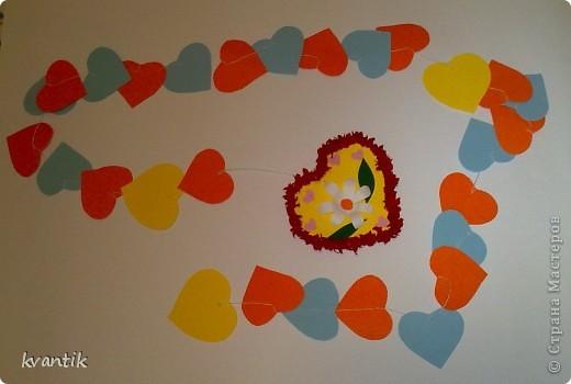 Коллективная работа Кусудама Раннее развитие Валентинов день Оригами Торцевание Наши поделки на Валентинов день Клей Нитки фото 5