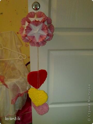 Коллективная работа Кусудама Раннее развитие Валентинов день Оригами Торцевание Наши поделки на Валентинов день Клей Нитки фото 11