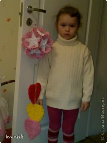 Коллективная работа Кусудама Раннее развитие Валентинов день Оригами Торцевание Наши поделки на Валентинов день Клей Нитки фото 8