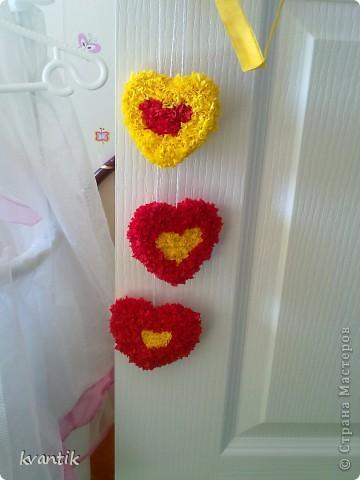 Коллективная работа Кусудама Раннее развитие Валентинов день Оригами Торцевание Наши поделки на Валентинов день Клей Нитки фото 14