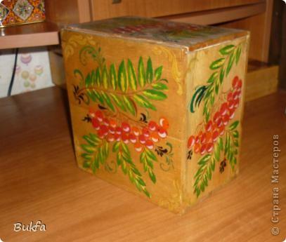 В таком коробе продавалась керамическая баночка для чая в форме бананов. Дочь расписала его все той же любимой рябиной. фото 2