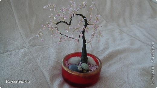 сакура-сердце! дерево из бисера фото 2