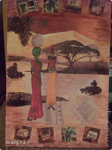 Вот такую картину я сделала мужу в подарок на день рождения. Тема картины - выбор мужа, обязательное условие - наличие кракелюра))))) Все пожелания выполнены! (правда рамочки еще нет)  Декупаж на холсте, в центре - рисовая салфетка, по периметру прорисовка акриловыми красками, маленькие картинки - это распечатки на салфетке, контуры, двухшаговый кракелюр от Маймери (739,740), затирка бронзовым порошком. фото 1