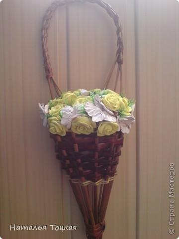 Вот такие у меня получились цветочки в корзинке. Корзинку я купила фото 1