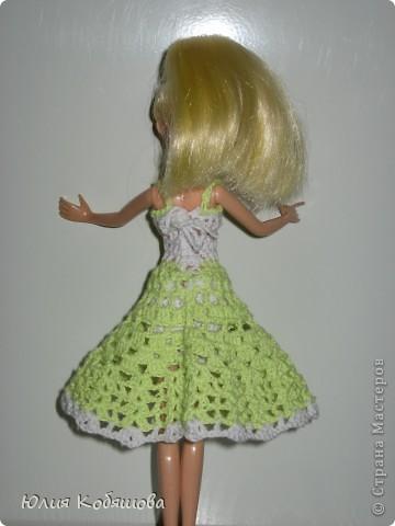 Платье на куклу связано крючком. фото 4
