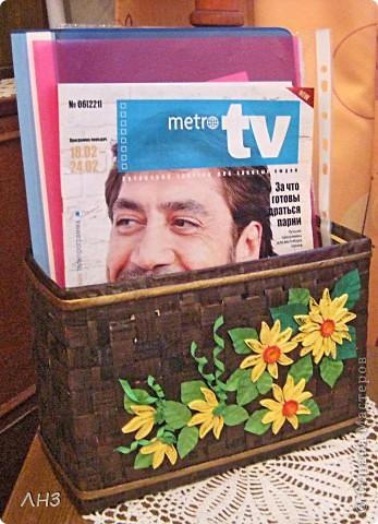 Плетёный короб для бумаг и журналов