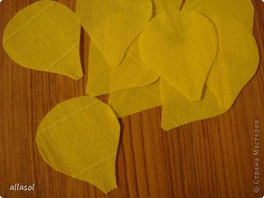 Получила заказ сделать желтые пышные цветы для школьного ансамбля. Поэтому эти два условия и старалась выполнить. Только потом стали думать, какие цветы получились. Пришли к выводу, что это полная мальва. фото 8