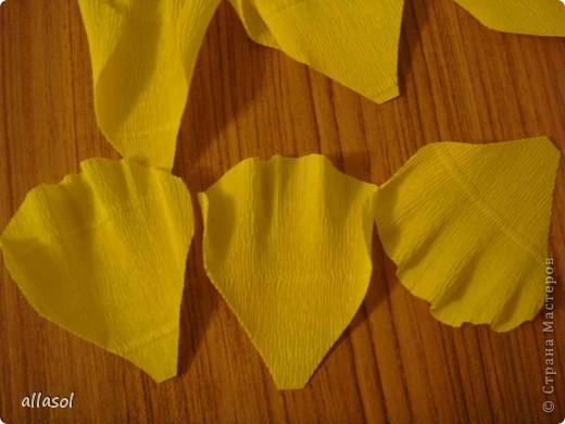 Получила заказ сделать желтые пышные цветы для школьного ансамбля. Поэтому эти два условия и старалась выполнить. Только потом стали думать, какие цветы получились. Пришли к выводу, что это полная мальва. фото 9