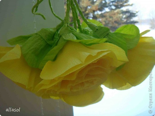Получила заказ сделать желтые пышные цветы для школьного ансамбля. Поэтому эти два условия и старалась выполнить. Только потом стали думать, какие цветы получились. Пришли к выводу, что это полная мальва. фото 16