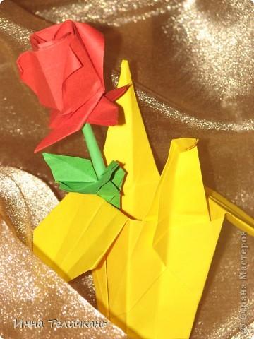 Розочка оригами фото 2