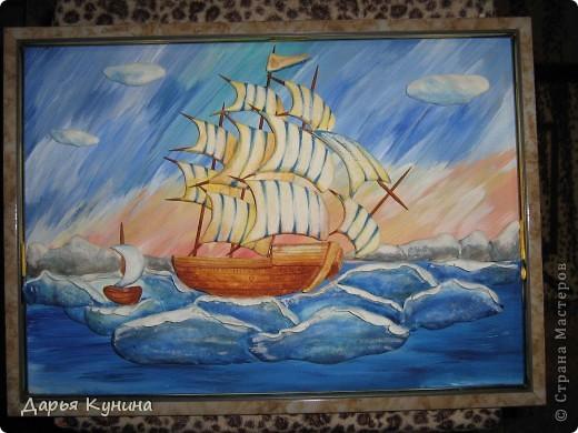 Все, конечно же, догадались - кораблик по МК Ларисы Ивановой. О своем корабле скажу так - нравится, но довольна не очень. Теперь, зная свои ошибки, хочу сделать еще один)) фото 5