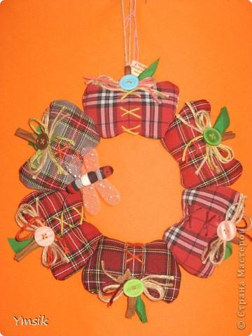 Венок из текстильных яблок. Хлопок. фото 2