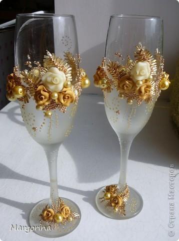 """Свадебные бокалы """"Роскошь золота"""" фото 1"""