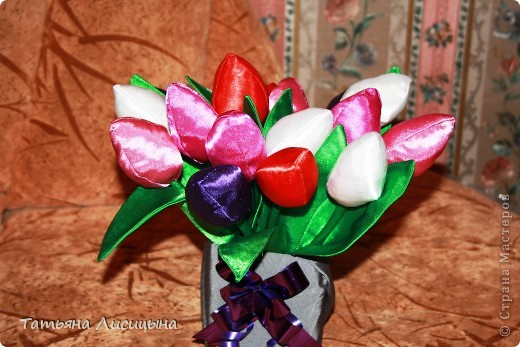 Тюльпаны из ткани фото 2